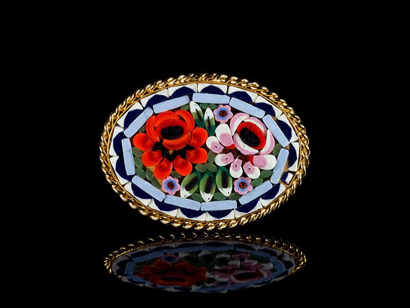 Винтажная брошь из мозаики итальянской