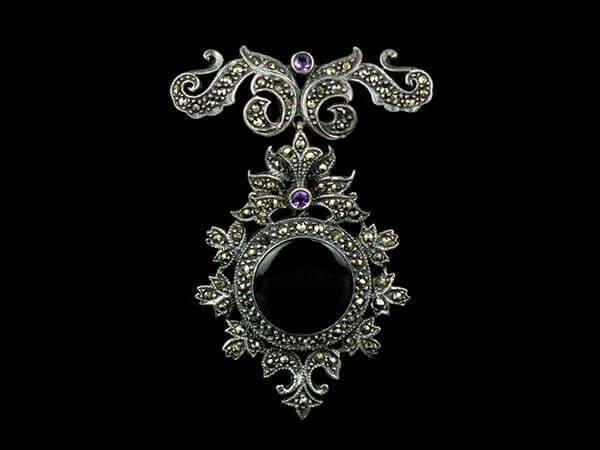 Винтажная брошь антикварная старинная серебро