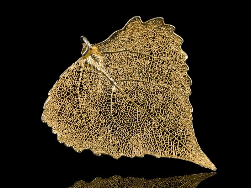 Натуральный позолоченный лист кулон живой