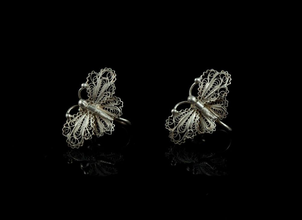 Сережки бабочки винтажные