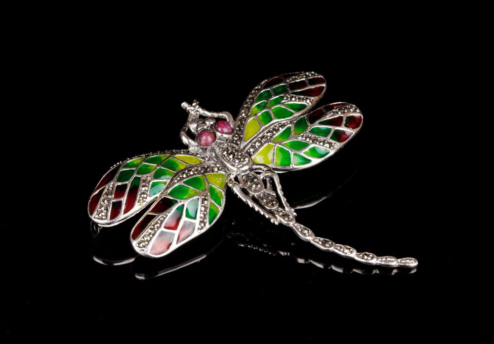 Брошка рубиновая стрекоза серебро