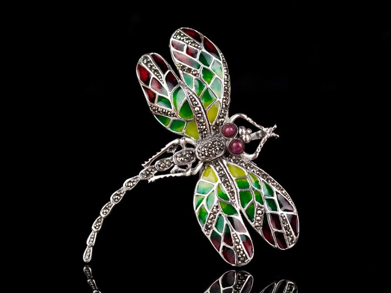Серебряная брошь стрекоза с рубинами