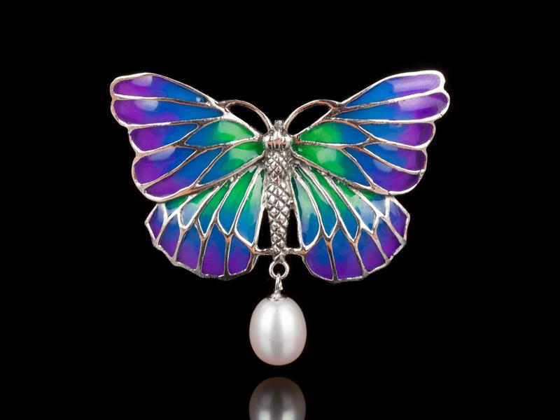 Брошь с жемчугом Бабочка Ар-нуво серебряная
