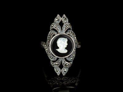 Кольцо камея серебро маркиз