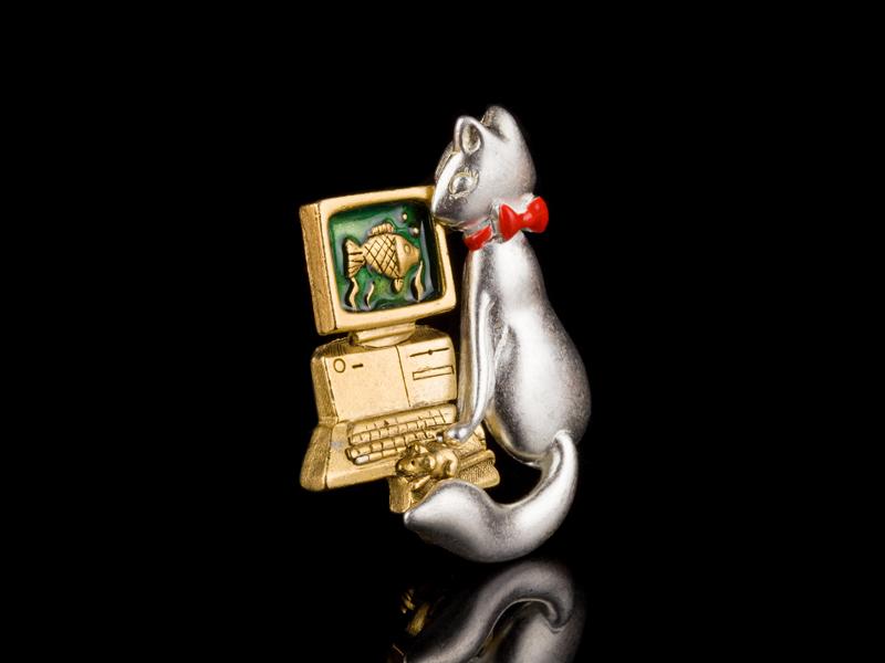 Danecraft брошка Кот и компьютер
