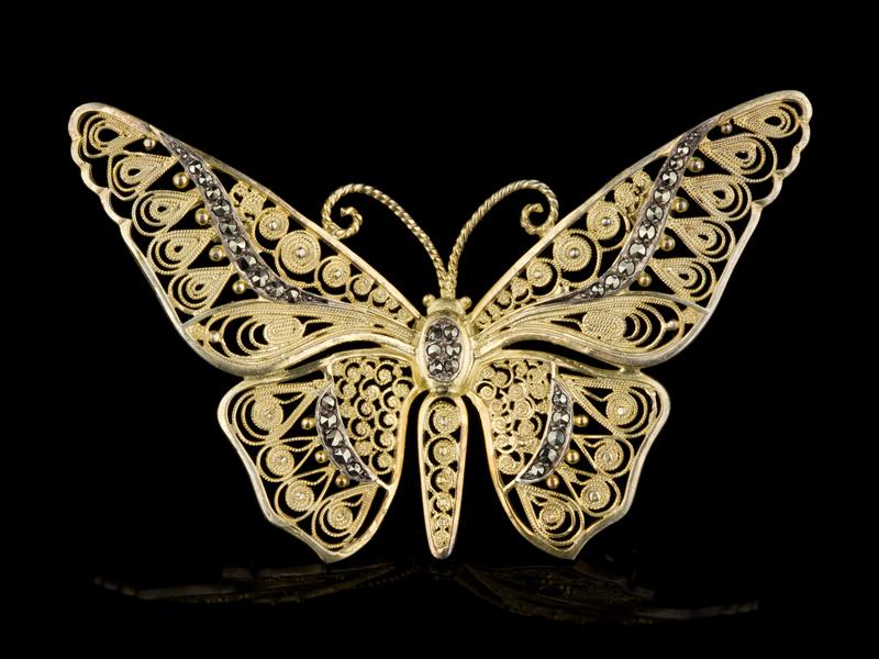 Старинная брошь серебряная бабочка