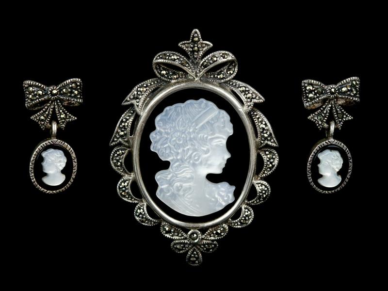 Камеи серебро оникс