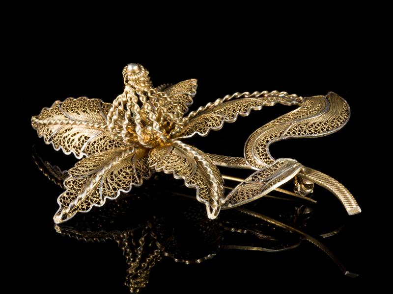 Антикварная филигранная брошь серебро