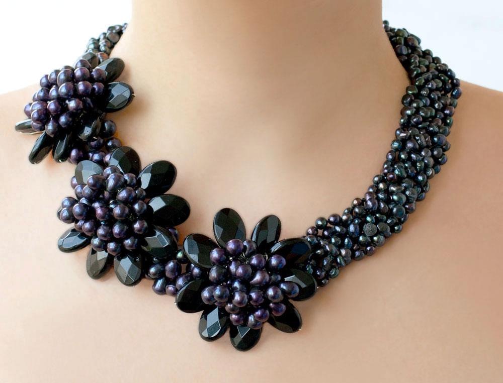 Черный агат и жемчуг колье ожерелье бусы