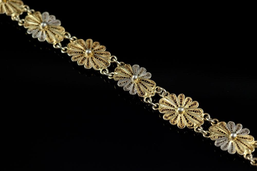 Старинный браслет серебряный филигранный