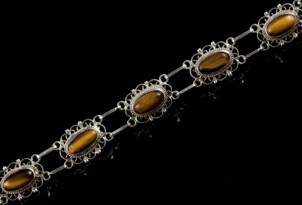 Винтажный браслет- серебро тигровый глаз