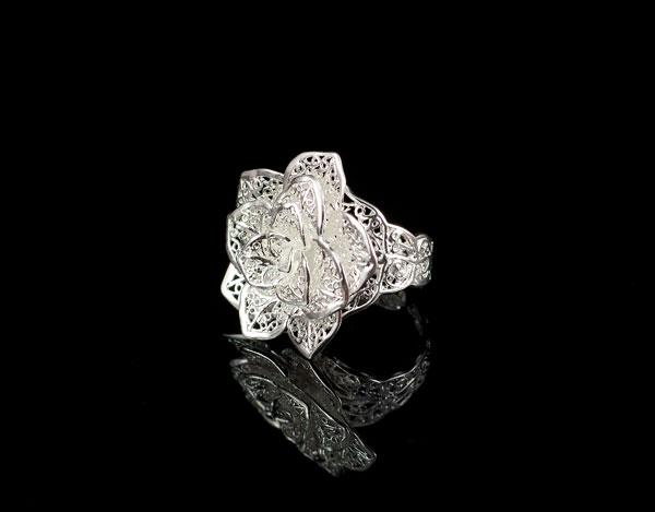 Роза - серебряное кольцо