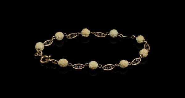 Винтажный позолоченный браслет с розами