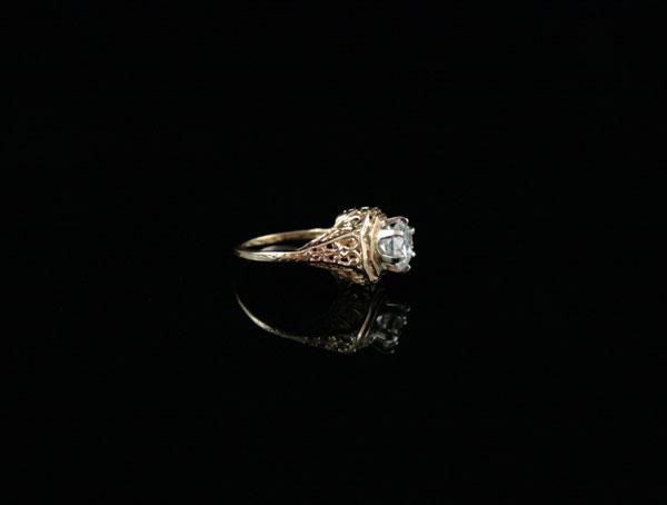 Филигранное кольцо корона золото