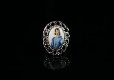 Винтажный перстень с изображением на фарфоре