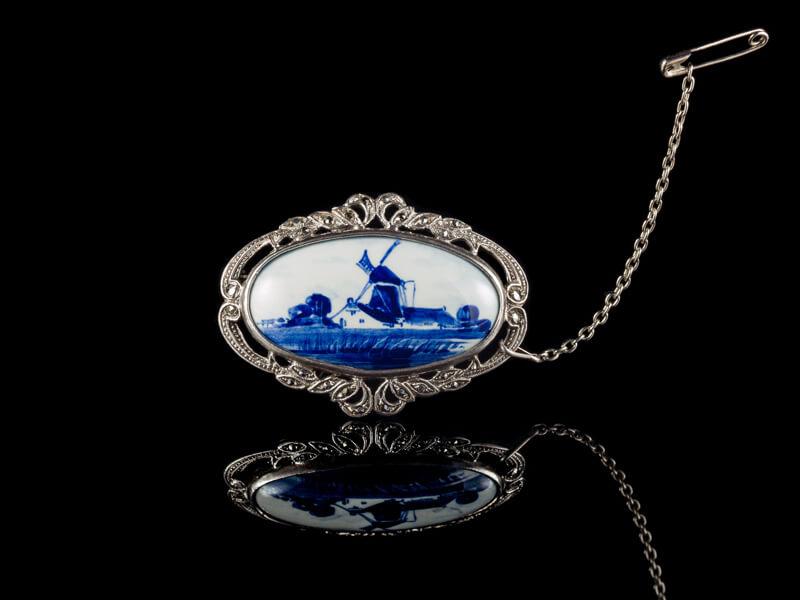 Брошь антиквариат серебро Delft