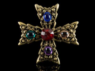 Мальтийский крест брошь винтажная