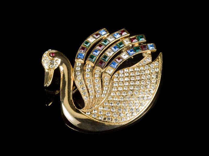 Брошь Сваровски Swarovski Лебедь