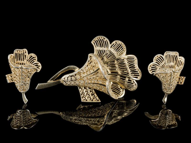 Винтажные украшения серебро брошь Лилия