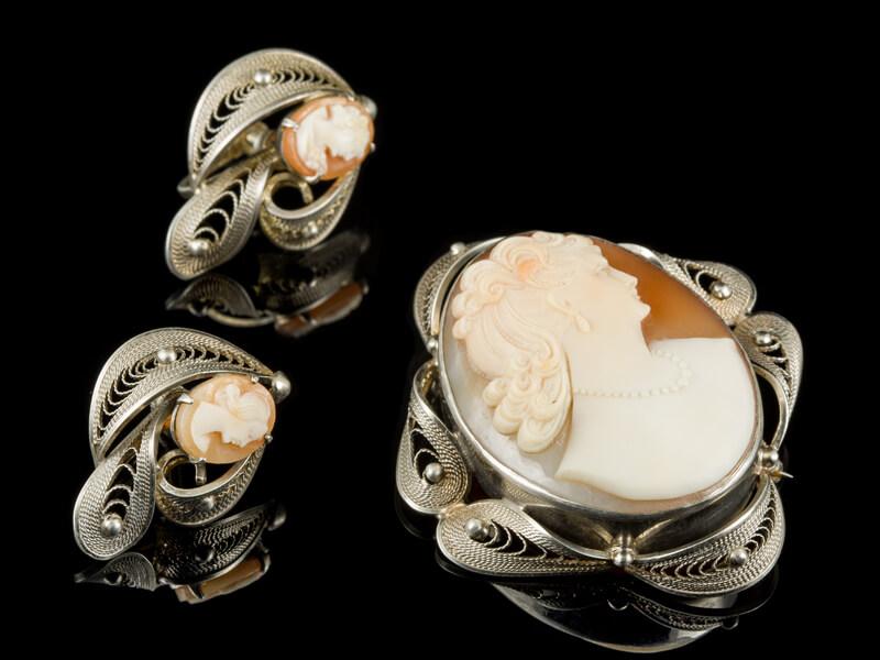 Камея брошь серебро итальянская комплект