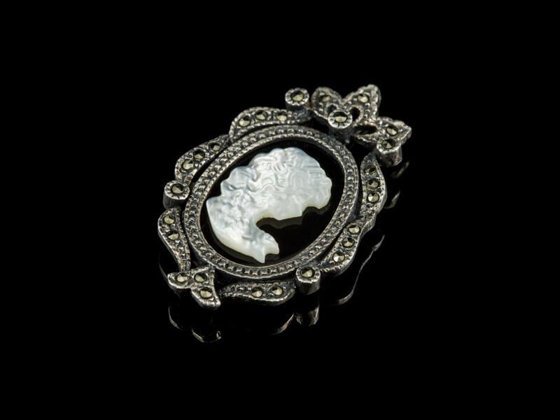 Камея кулон серебро оникс марказиты винтаж
