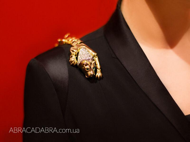 Плечевая брошь винтажная Лев Леопард Тигр