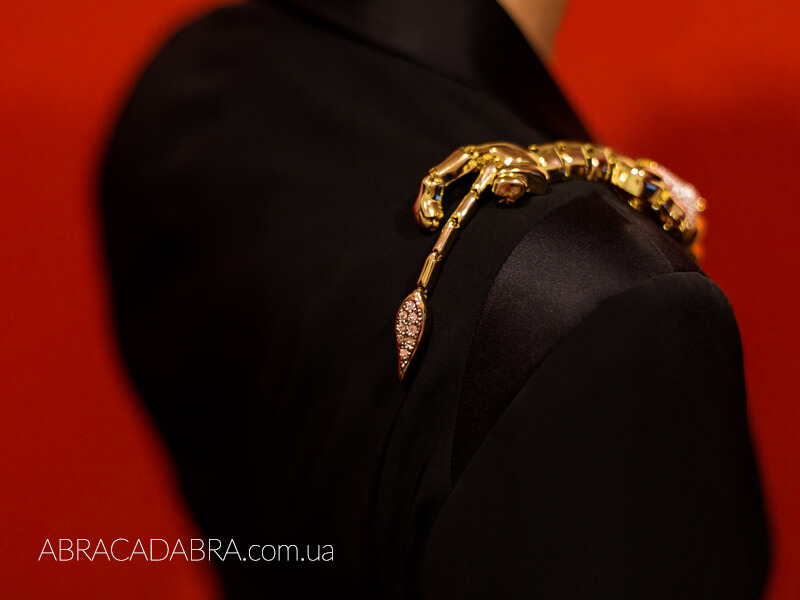 Брошь на плечо винтажная Лев Тигр Леопард