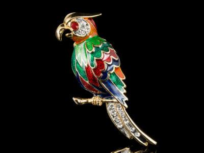 Винтажная брошь попугай Ара Австрия