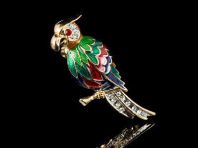 Винтажная брошь попугай Ара эмалевая кристаллы