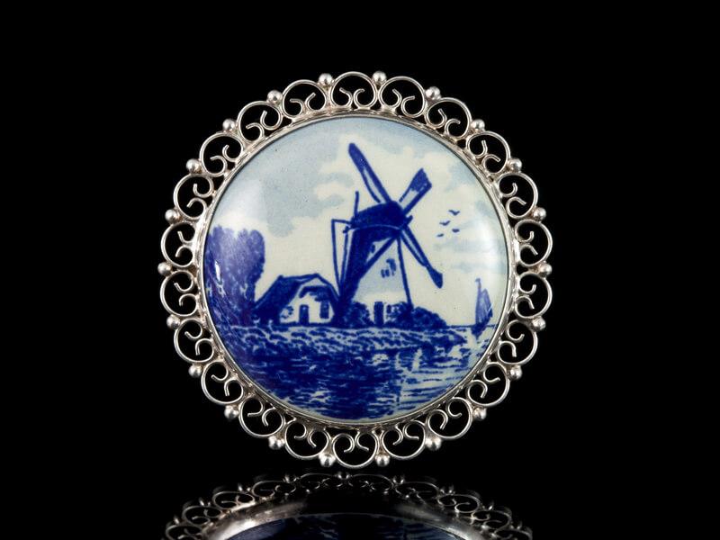 Delft Делфт брошь винтажная старинная серебро