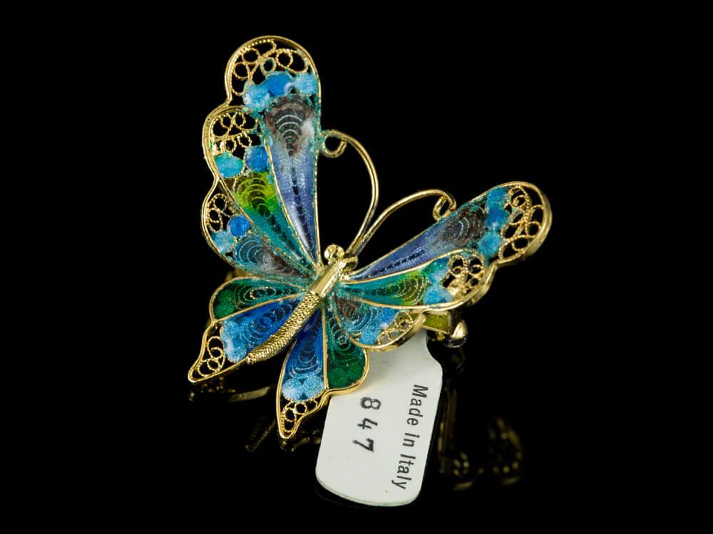 Брошь эмаль филигрань бабочка Италия