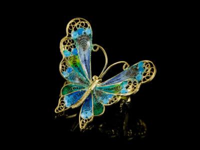 Брошь бабочка филигранная с эмалью