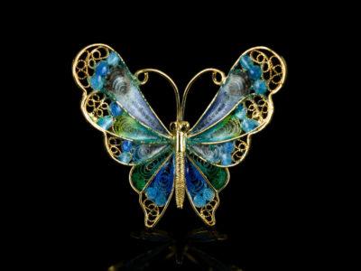 Филигранная брошь итальянская бабочка эмаль