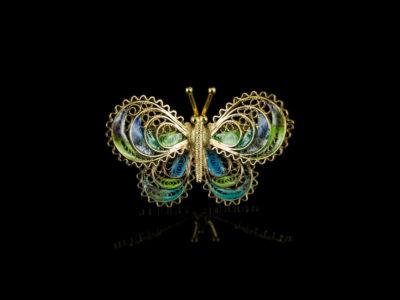 Винтажная брошь бабочка эмалевая филигрань