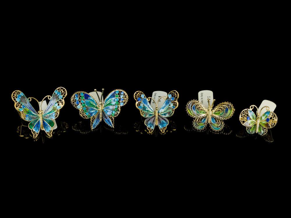 Броши винтажные серебряные бабочки итальянские