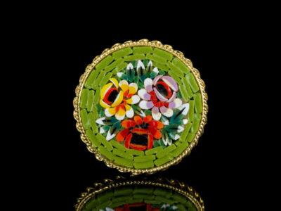 Венецианская мозаика брошь винтажная