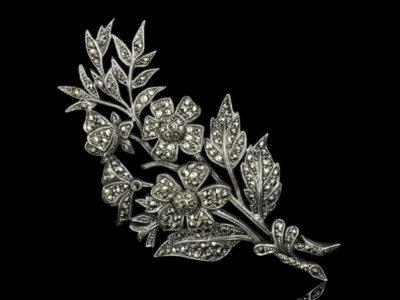 Капельное серебро антикварная брошь Англия