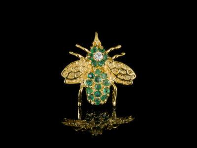 Изумрудная брошь серебряная золотая пчела