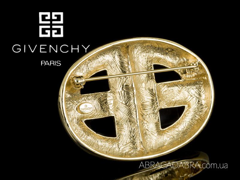 Живанши Givenchy брошь логотип винтаж