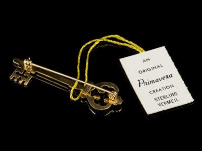 Danecraft брошь Золотой ключ винтаж серебряная