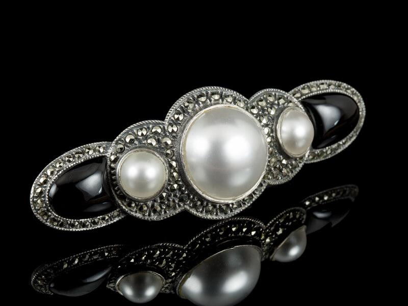 Антикварная серебряная брошь для воротника жемчуг оникс черный