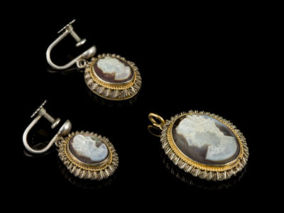 Камеи старинные антикварные серебряные серьги кулон