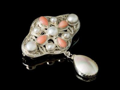 Израиль серебряные украшения с кораллом жемчугом брошь