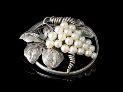 Антикварная жемчужная брошь серебряная жемчуг Виноград