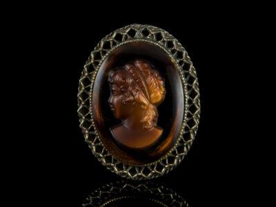 Камея брошь кулон венецианское стекло винтажная