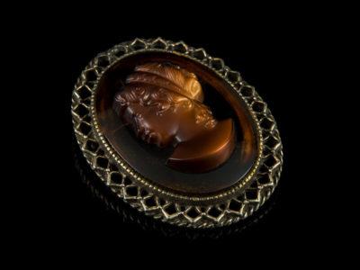 Брошь с камеей из венецианского стекла профиль винтаж