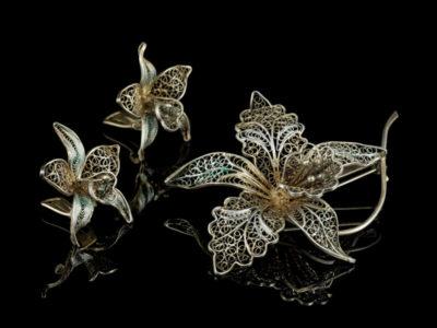 Филигранный комплект Орхидеи старинный гарнитур брошь серьги