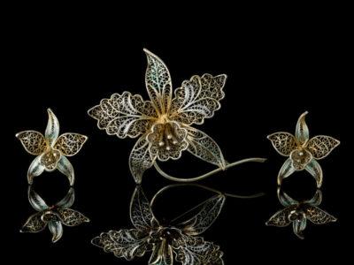 Орхидеи филигрань серебро Италии брошь клипсы