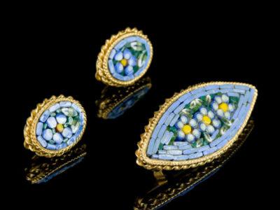 Мозаика венецианская брошь клипсы винтажные украшения