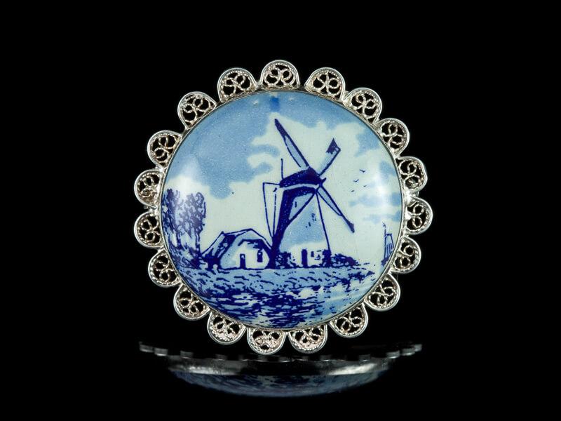 Делфт украшения Delft брошь серебро винтаж фарфор